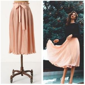 Hunter Dixon  M Million Pleats Skirt Blush Belted